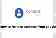 How to restore contacts from google